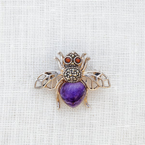 Sterling silver, Blue John, marcasite and garnet honey bee brooch