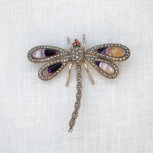 Sterling silver, Blue John and marcasite dragonfly brooch