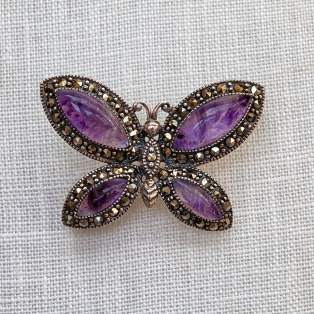 Sterling silver, Blue John and marcasite four stone butterfly brooch