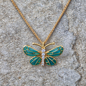 18ct yellow gold, diamond and enamel butterfly necklace