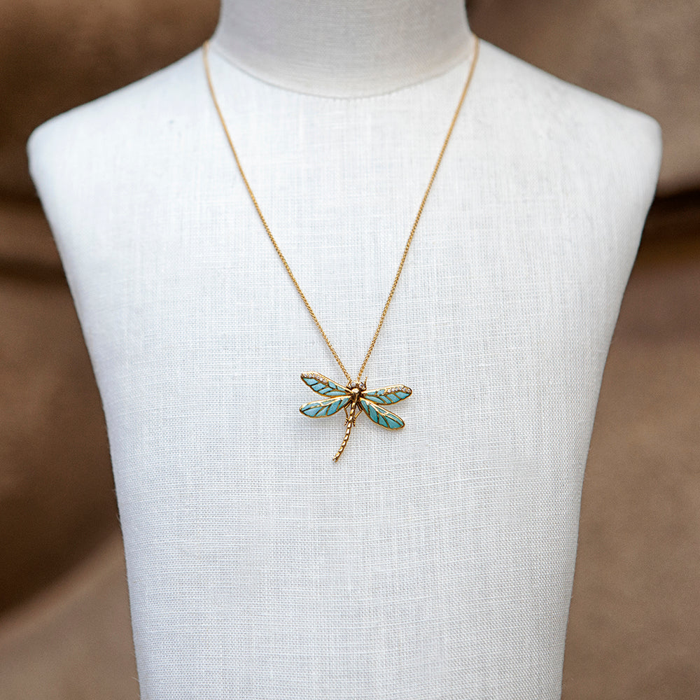 18ct yellow gold, diamond and blue enamel dragonfly necklace