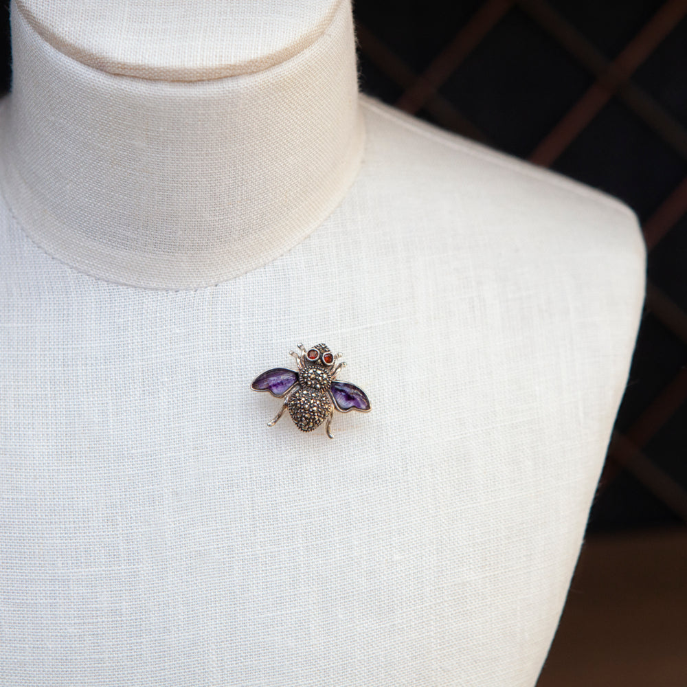 Sterling silver, Blue John, garnet and marcasite winged bee brooch