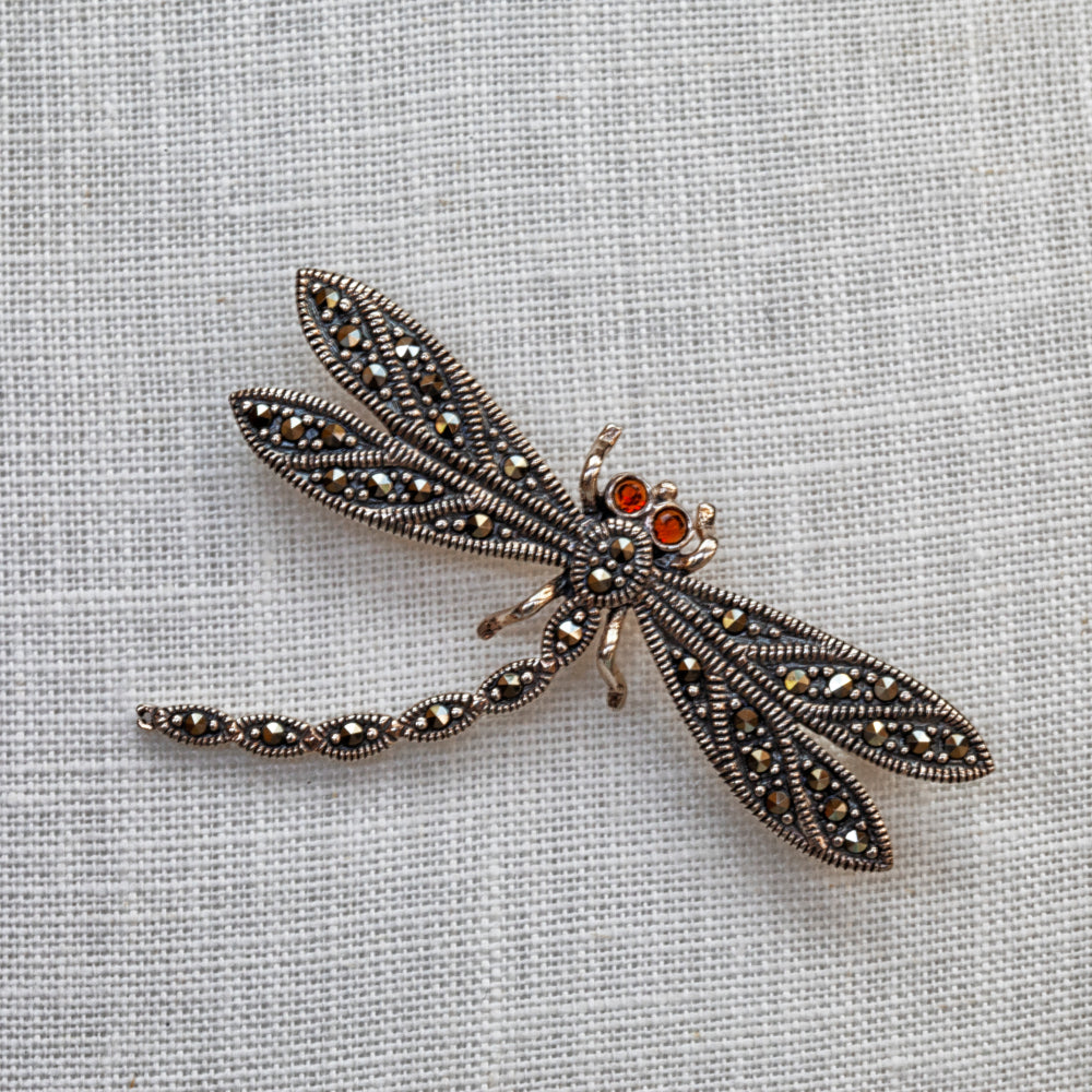 Sterling silver, marcasite and garnet dragonfly brooch