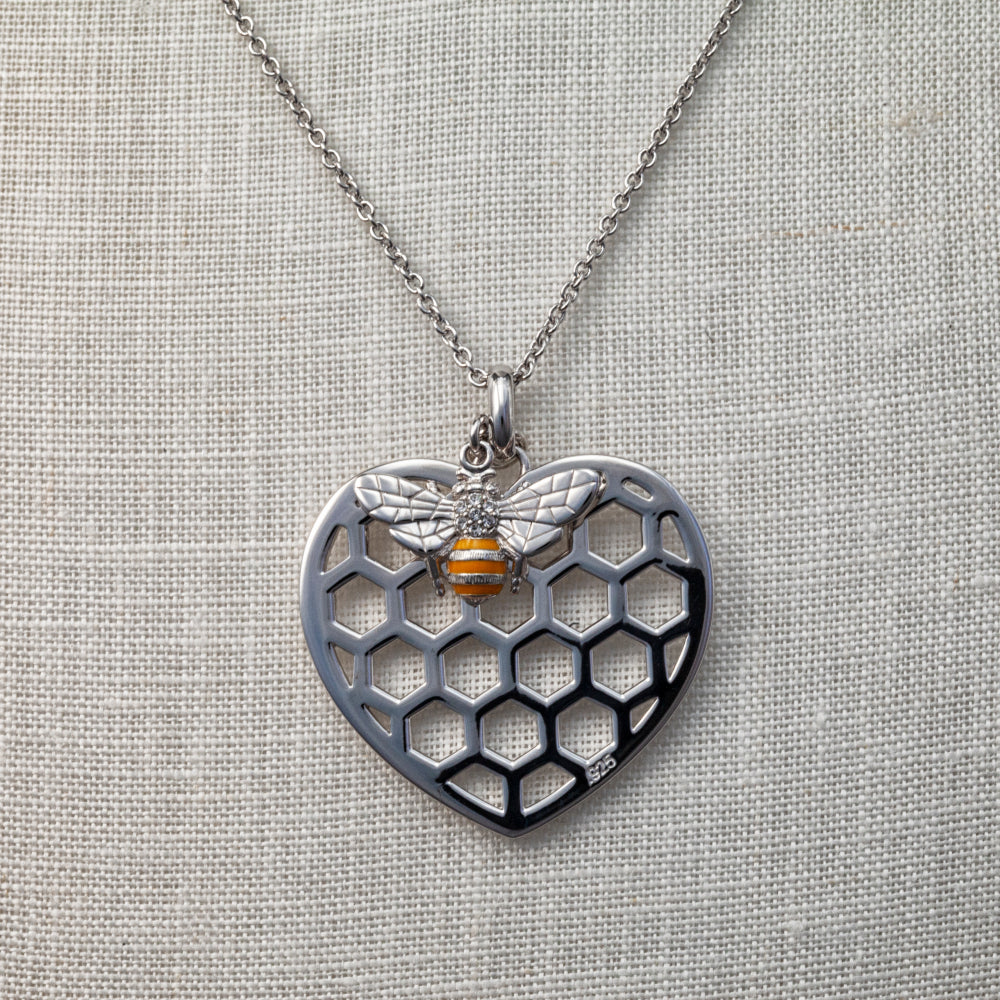 Sterling silver and Swarovski crystal bee in beehive heart necklace