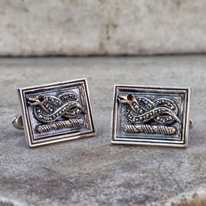 Sterling silver, marcasite and garnet Devonshire serpent cufflinks