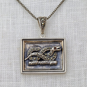 Sterling silver, marcasite and garnet Devonshire serpent necklace
