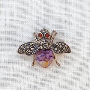 Sterling silver, Blue John, marcasite and garnet bee brooch