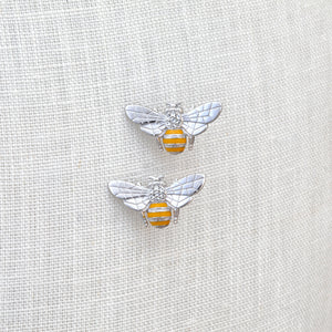 Sterling silver, Swarovski crystal and enamel bee stud earrings