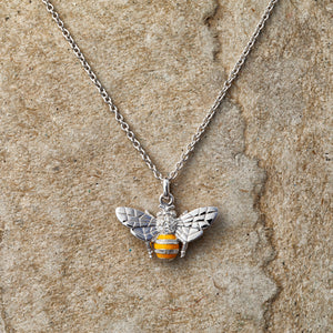 Sterling silver, Swarovski crystal and enamel bee necklace