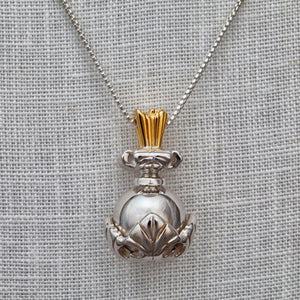 Sterling silver ball and leaf necklace
