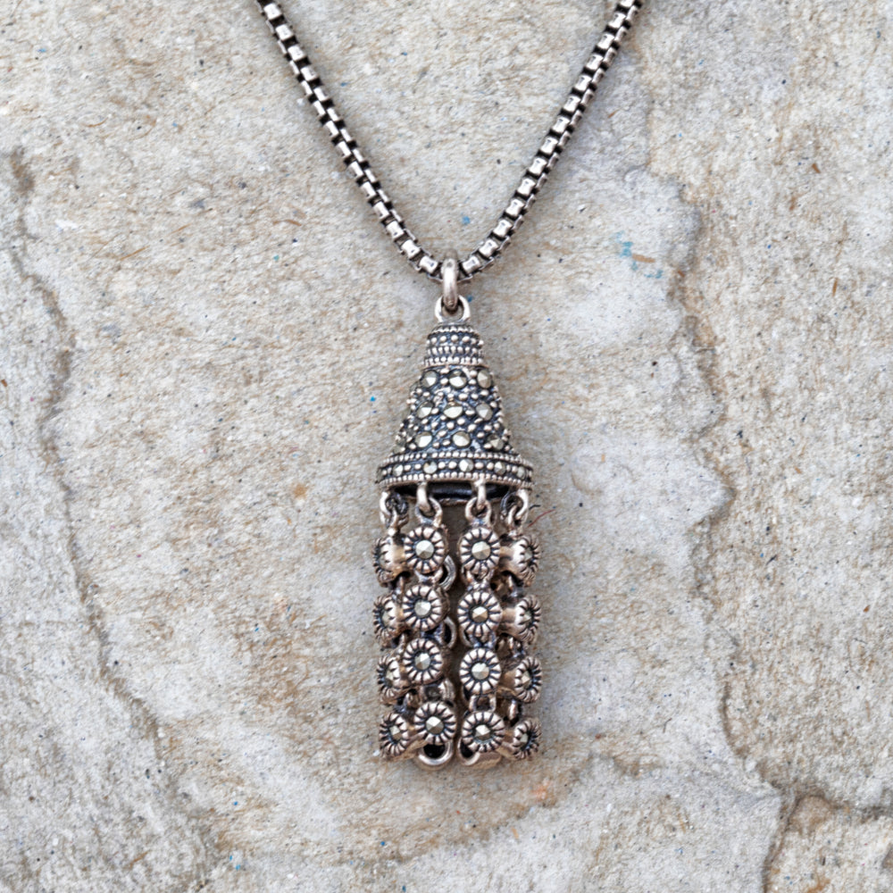Sterling silver and marcasite chandelier necklace