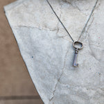 Sterling silver open key necklace