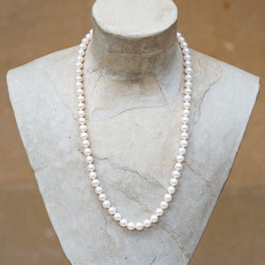White pearl 6mm round bead necklace