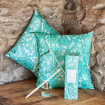 Chinese wallpaper cushion cover and diffuser set, blue or cream