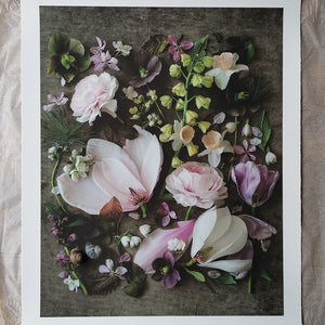 Cutting garden pink floral composite print, large
