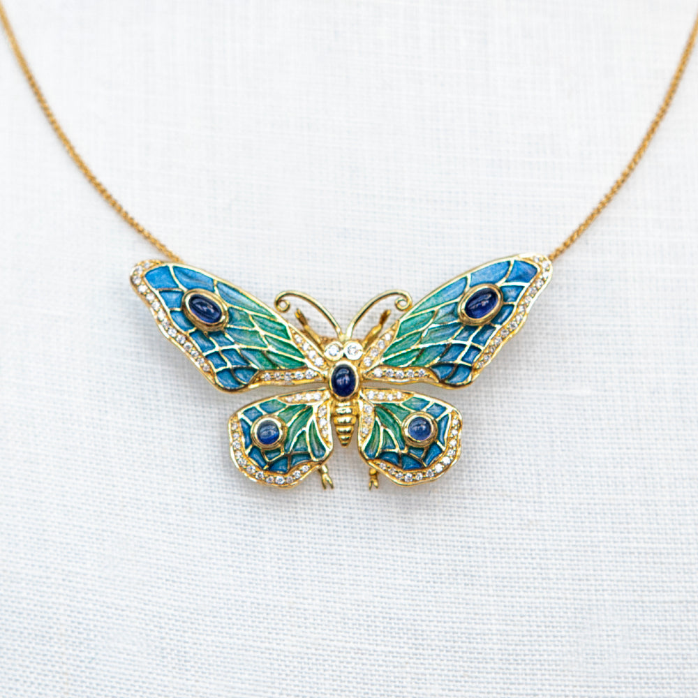 18ct yellow gold, diamond, moonstone and enamel butterfly brooch necklace