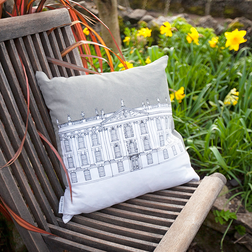 Contemporary Chatsworth cushion cover, grey or mustard