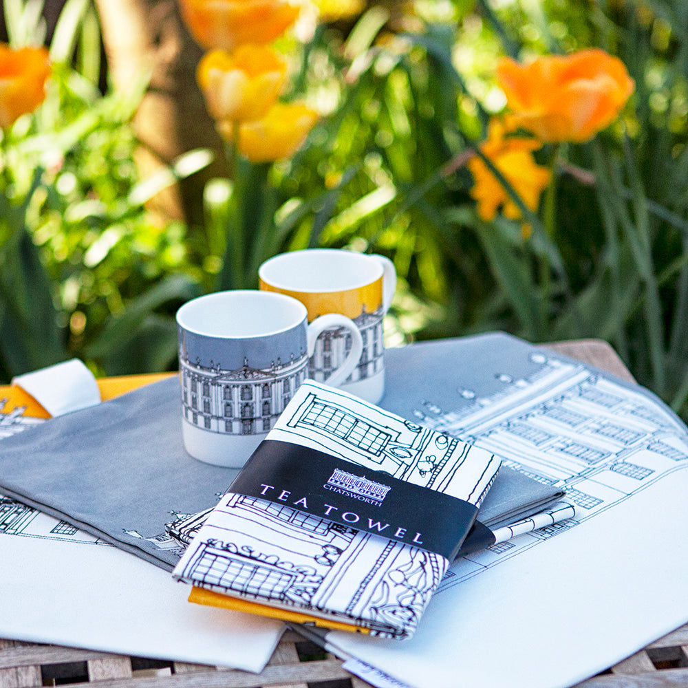 Contemporary Chatsworth tea towel, grey or mustard
