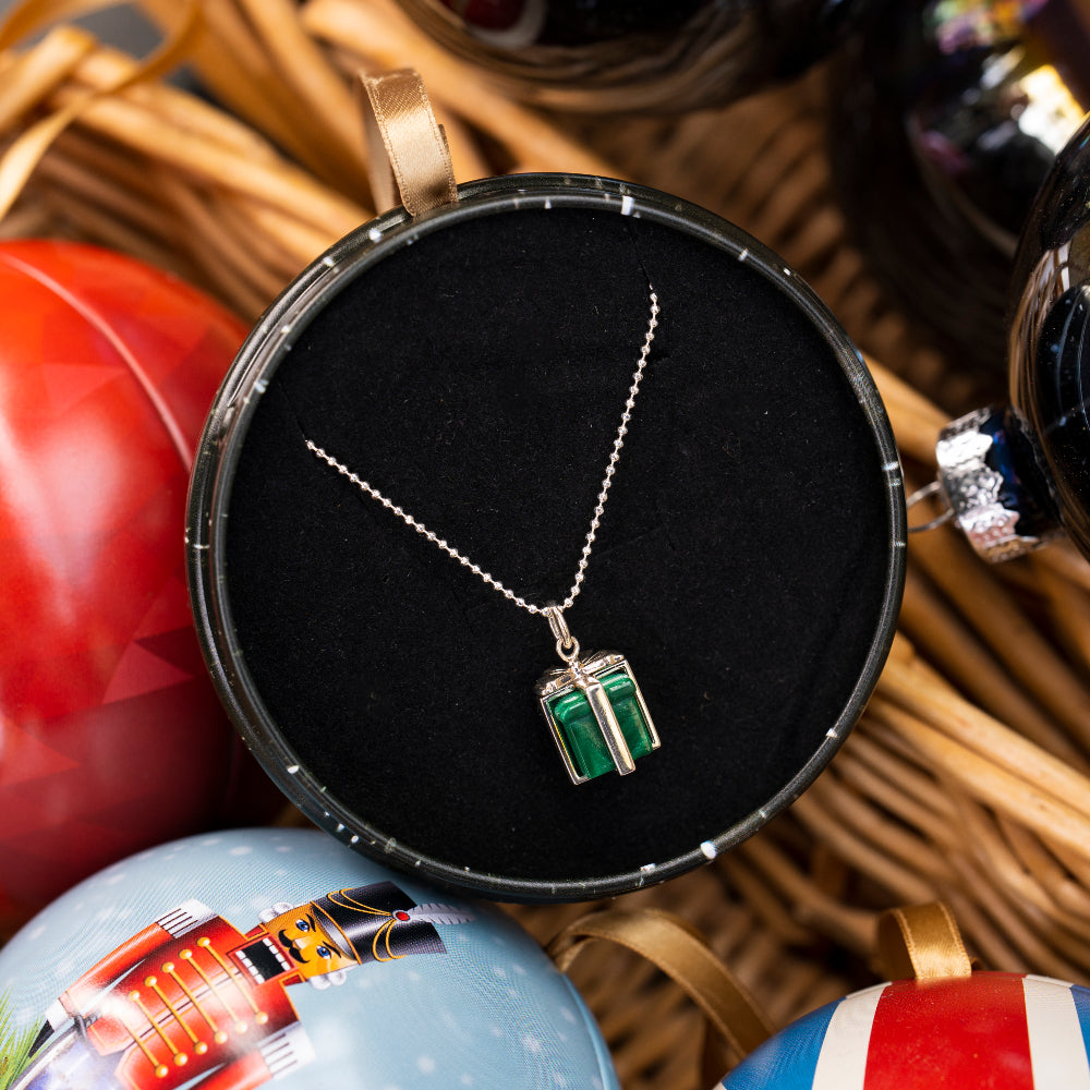 Sterling silver and malachite Christmas present necklace