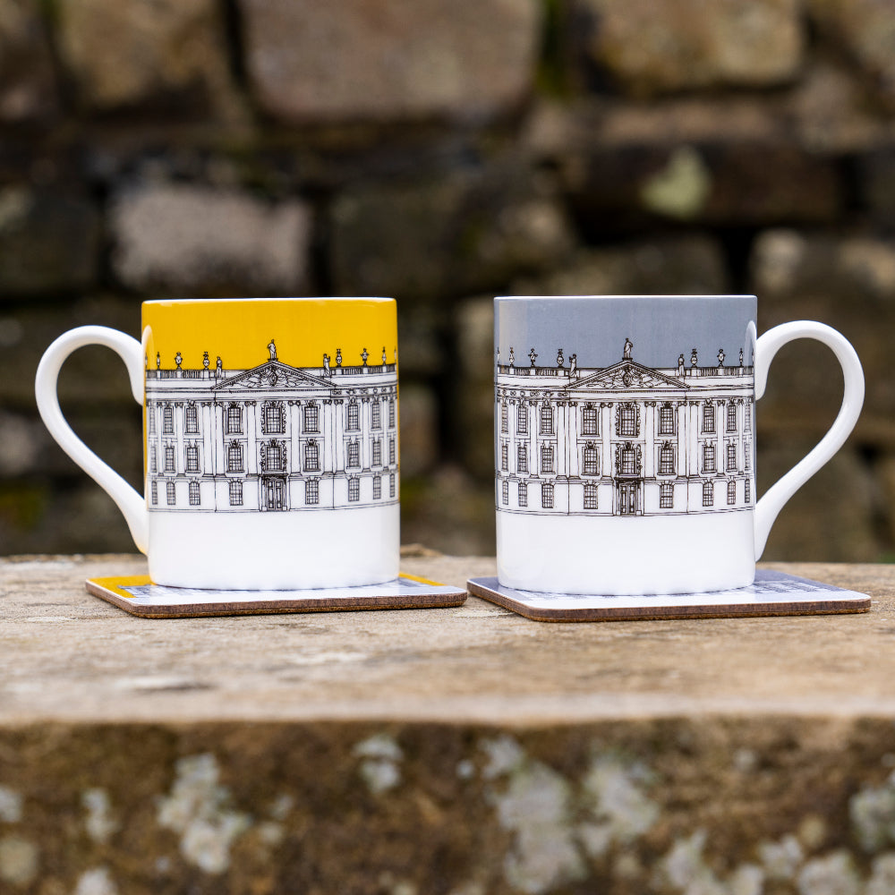 Contemporary Chatsworth mug, grey or mustard
