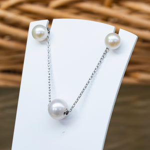 Sterling silver white baroque pearl necklace and earring set