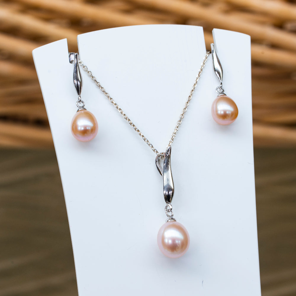 Sterling silver pink freshwater pearl drop necklace and earring set