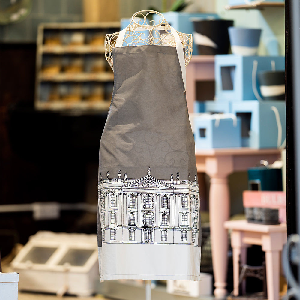 Grey architectural Chatsworth tea towel and apron set