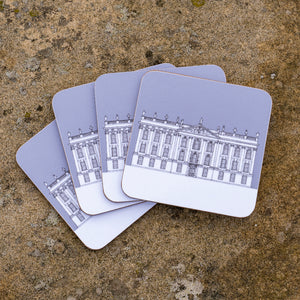 Contemporary Chatsworth coasters, set of four, grey or mustard
