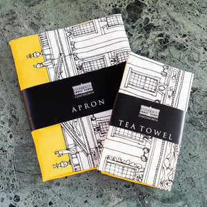 Contemporary Chatsworth tea towel and apron set, grey or mustard