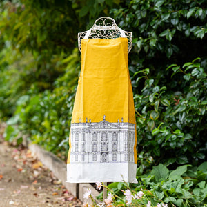 Mustard architectural Chatsworth tea towel and apron set