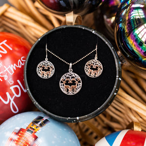 Sterling silver and rose gold round pierced reindeer gift set