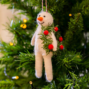 Snowman with a wreath decoration