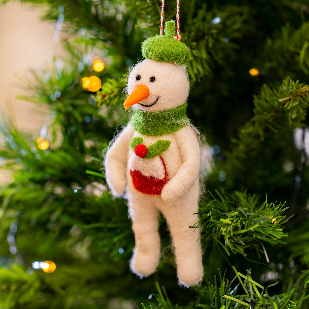 Snowman with hat and scarf decoration