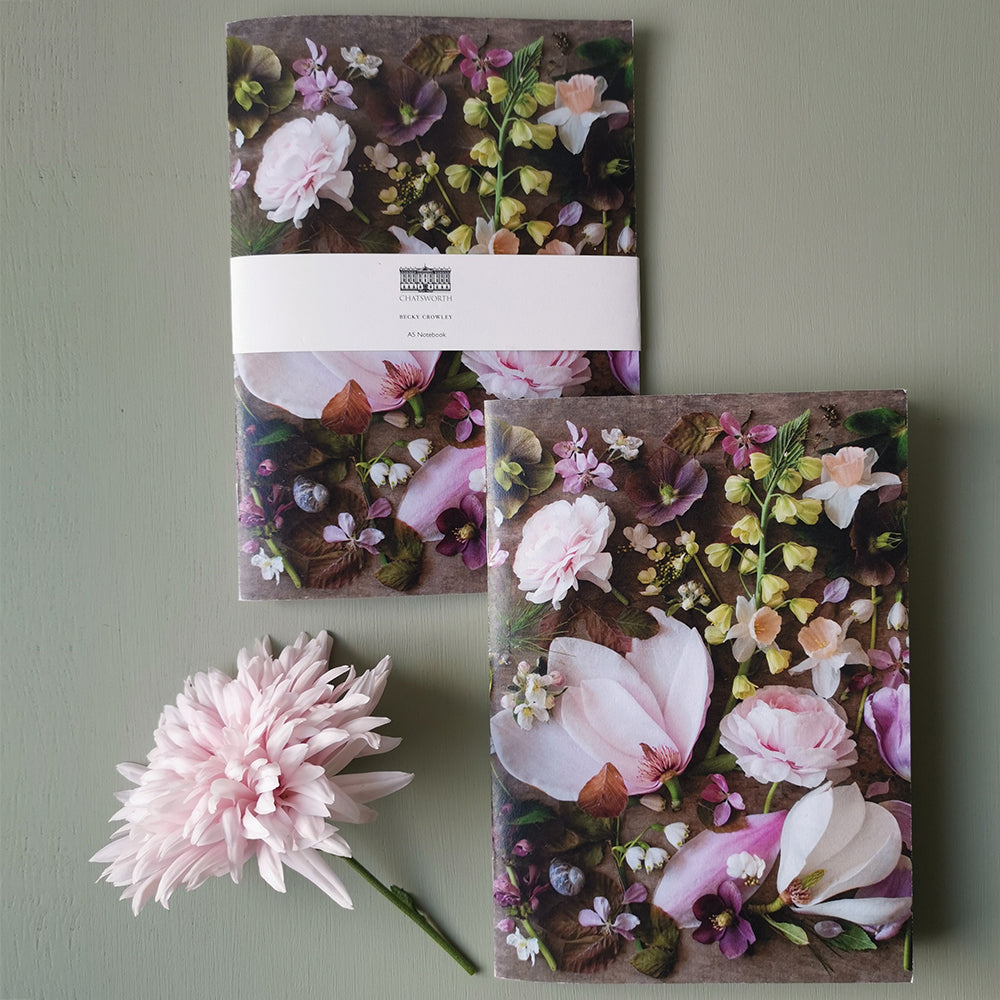 Becky Crowley softback notebook - pink floral composite