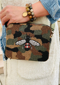 Beaded Camo Crossbody