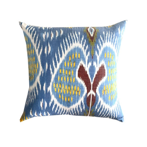Silk Ikat Cushion - Blue & Yellow Aztec