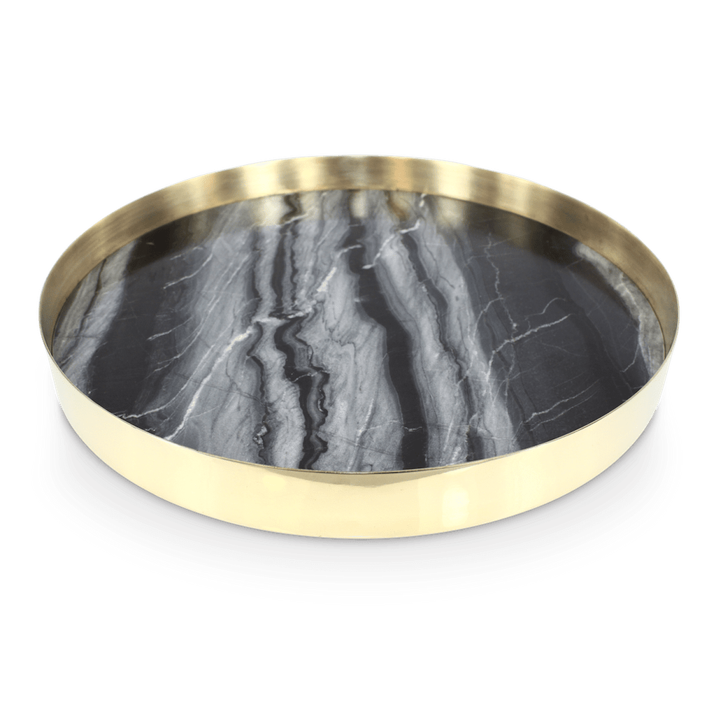 Brass & Marble Tray Black - 35cm