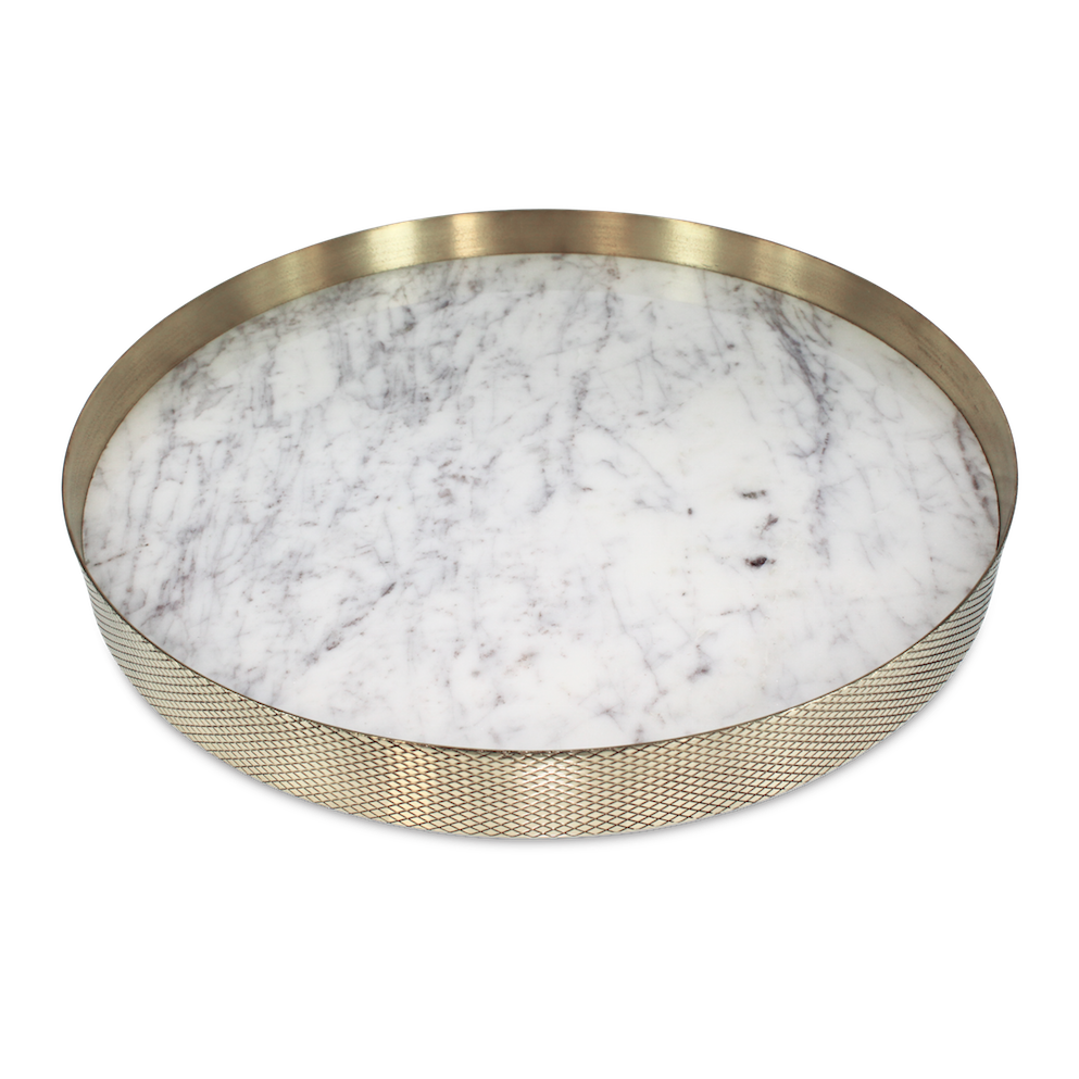 Brass & Marble Tray White - 35cm