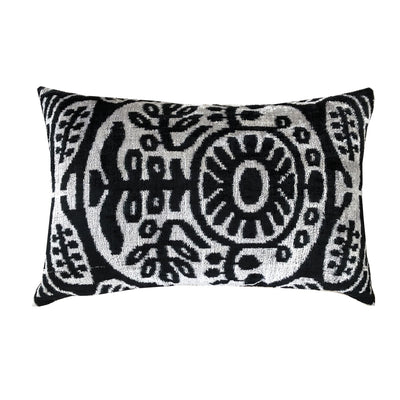 Black/Silver Vintage Silk & Velvet Cushion