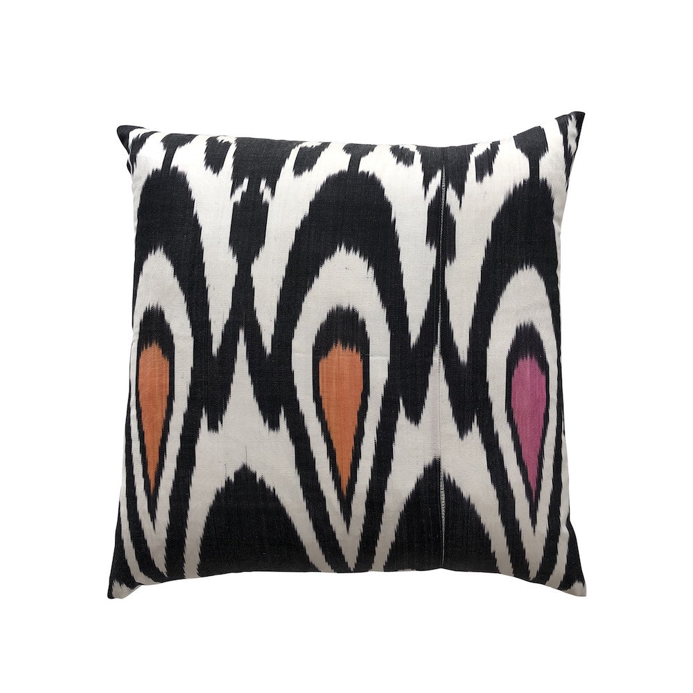 Silk Ikat Cushion - Black & Pink/Orange