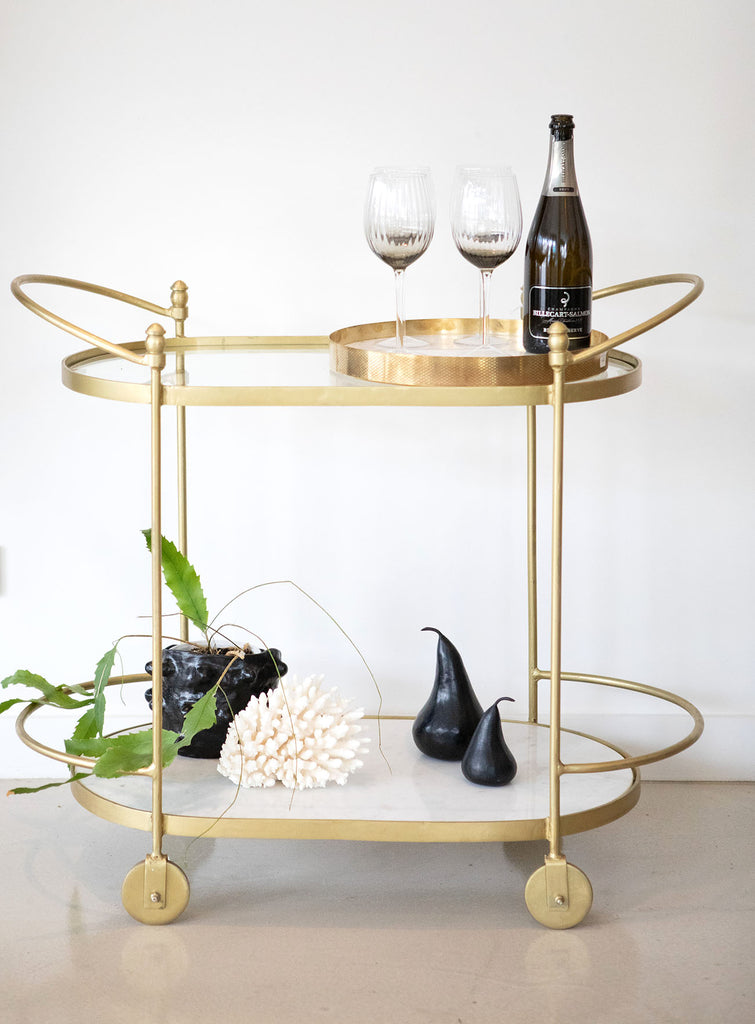 Oval 2 Tier Bar Cart with glass and marble shelf