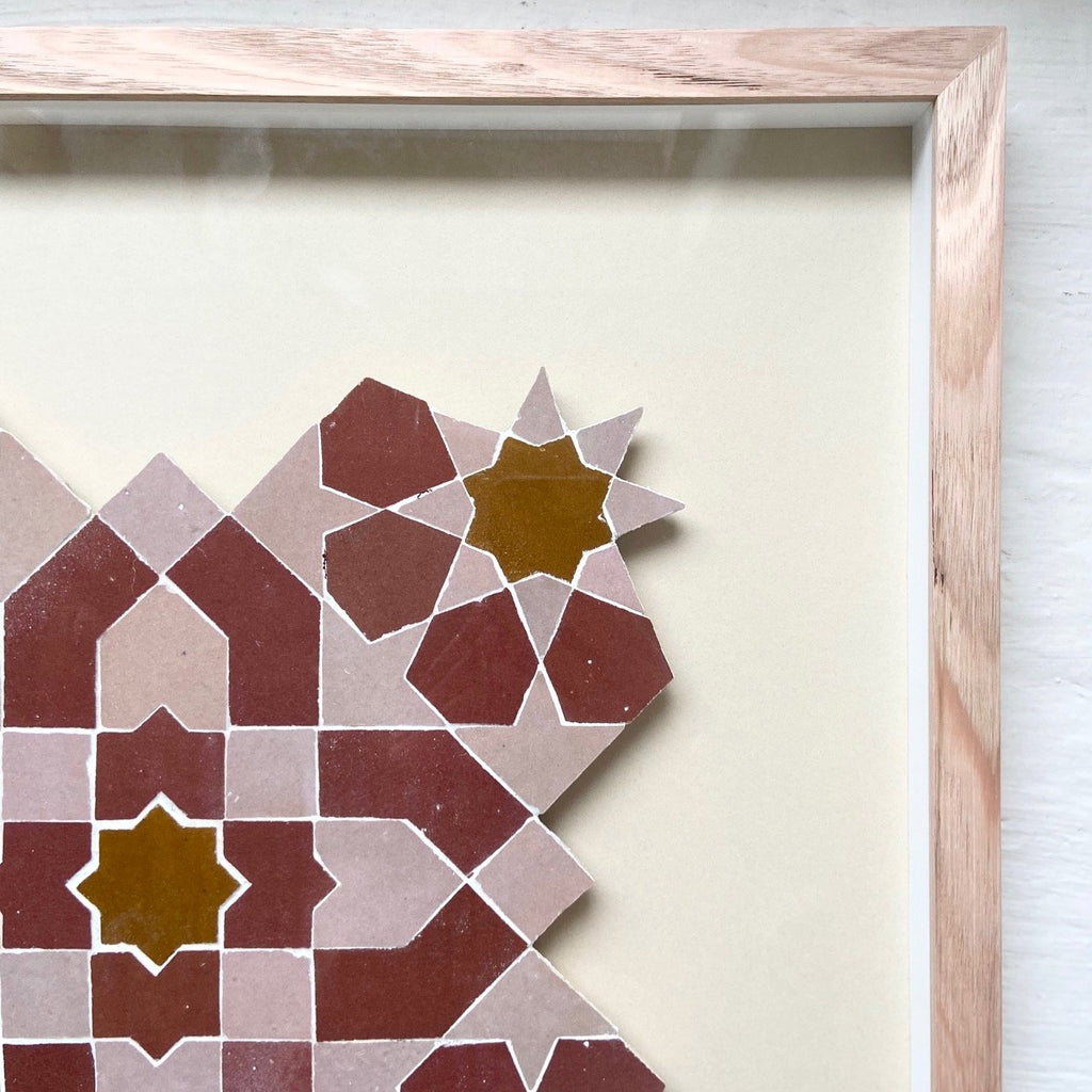 Moroccan Mosaic 'Moroccan Pink & Blood Red' I by Tilesofezra