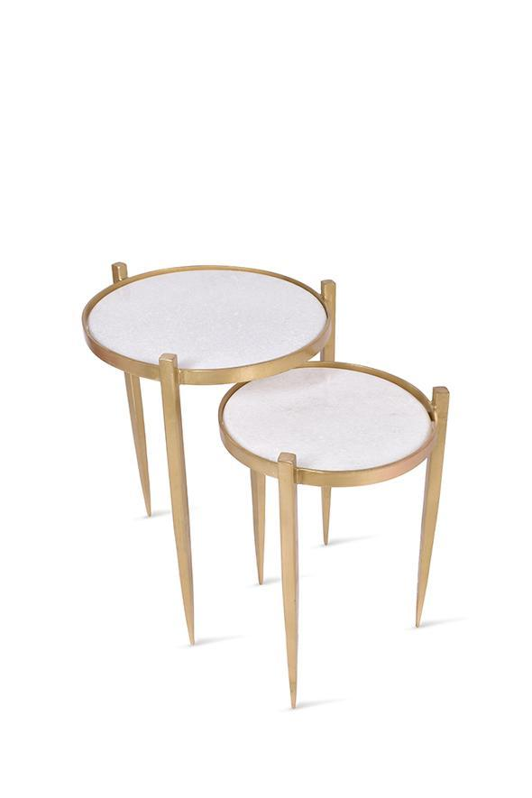 Brass and Marble Nesting Side Tables - PAIR