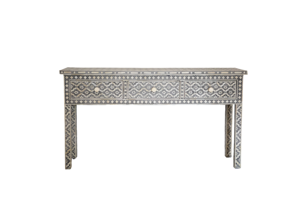 Wallpaper Inlay 3 drawer Console - Grey