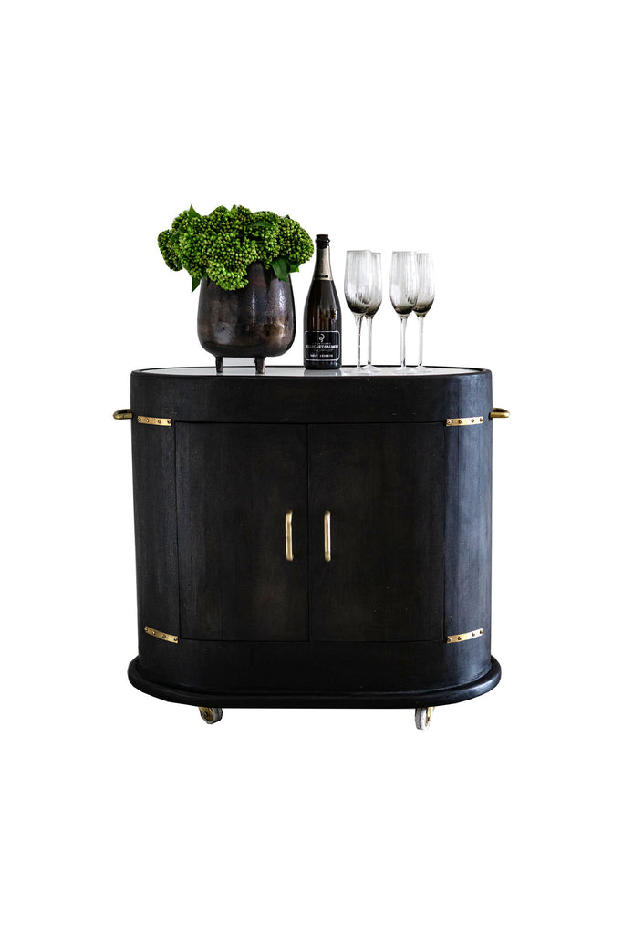 Wooden Oval Bar Trolley