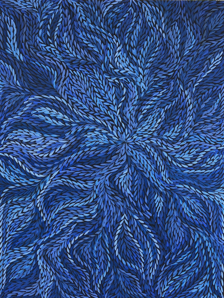 Rosemary Pitjara - Bush Medicine Leaves - Blue Swirl
