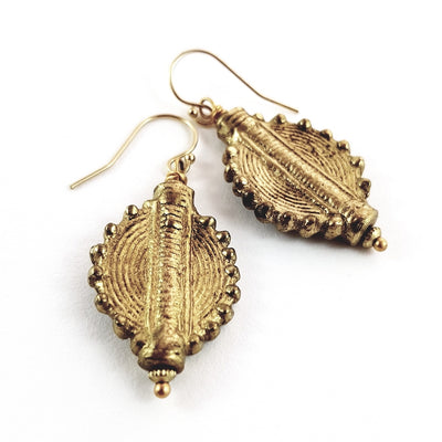 Brass Aztec Sun Earrings
