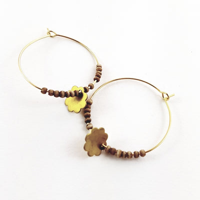 Brass Flower & Bead Hoops