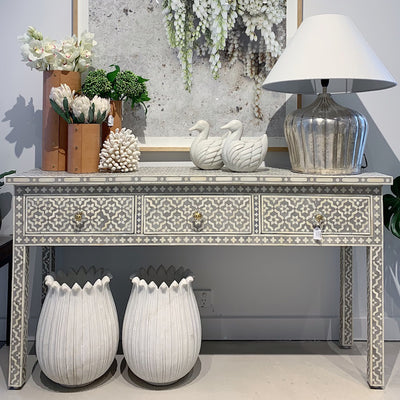 Daisy Inlay 3 drawer Console - Grey