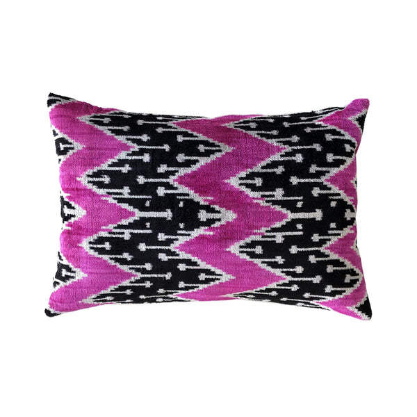 Cerise/Black Vintage Silk & Velvet Cushion